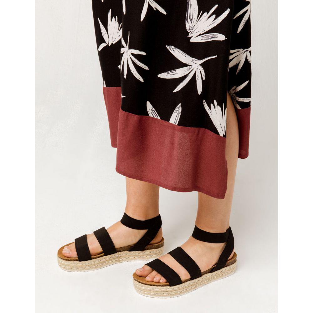ヨキ YOKI レディース エスパドリーユ シューズ・靴【Chiara Beige Espadrille Flatform Sandals】BLACK