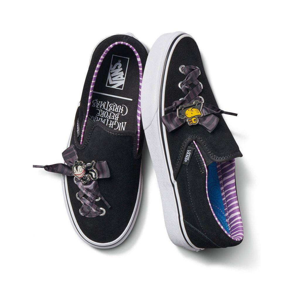 ヴァンズ VANS レディース スリッポン・フラット シューズ・靴【x The Nightmare Before Christmas Slip-On Lace Shoes】BLACK