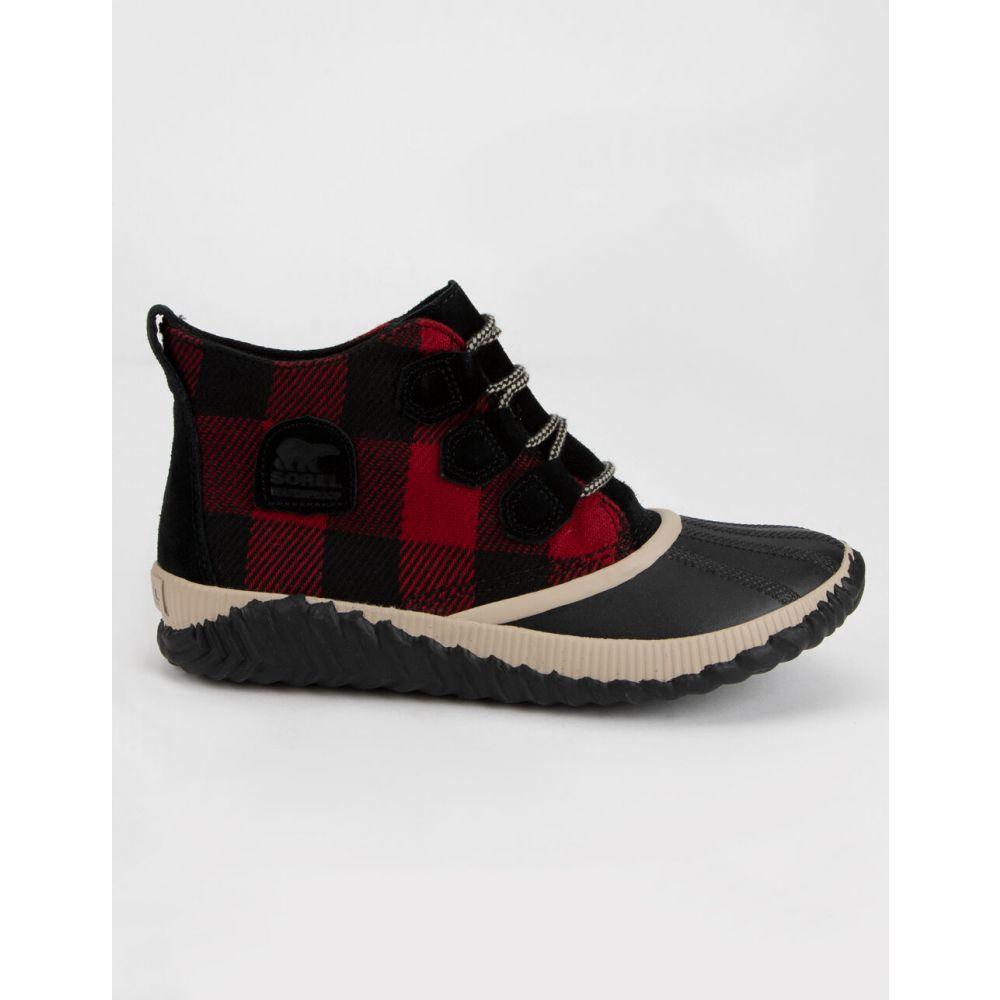 ソレル SOREL レディース ブーツ シューズ・靴【Out 'N About Plus Black Boots】BLACK/RED