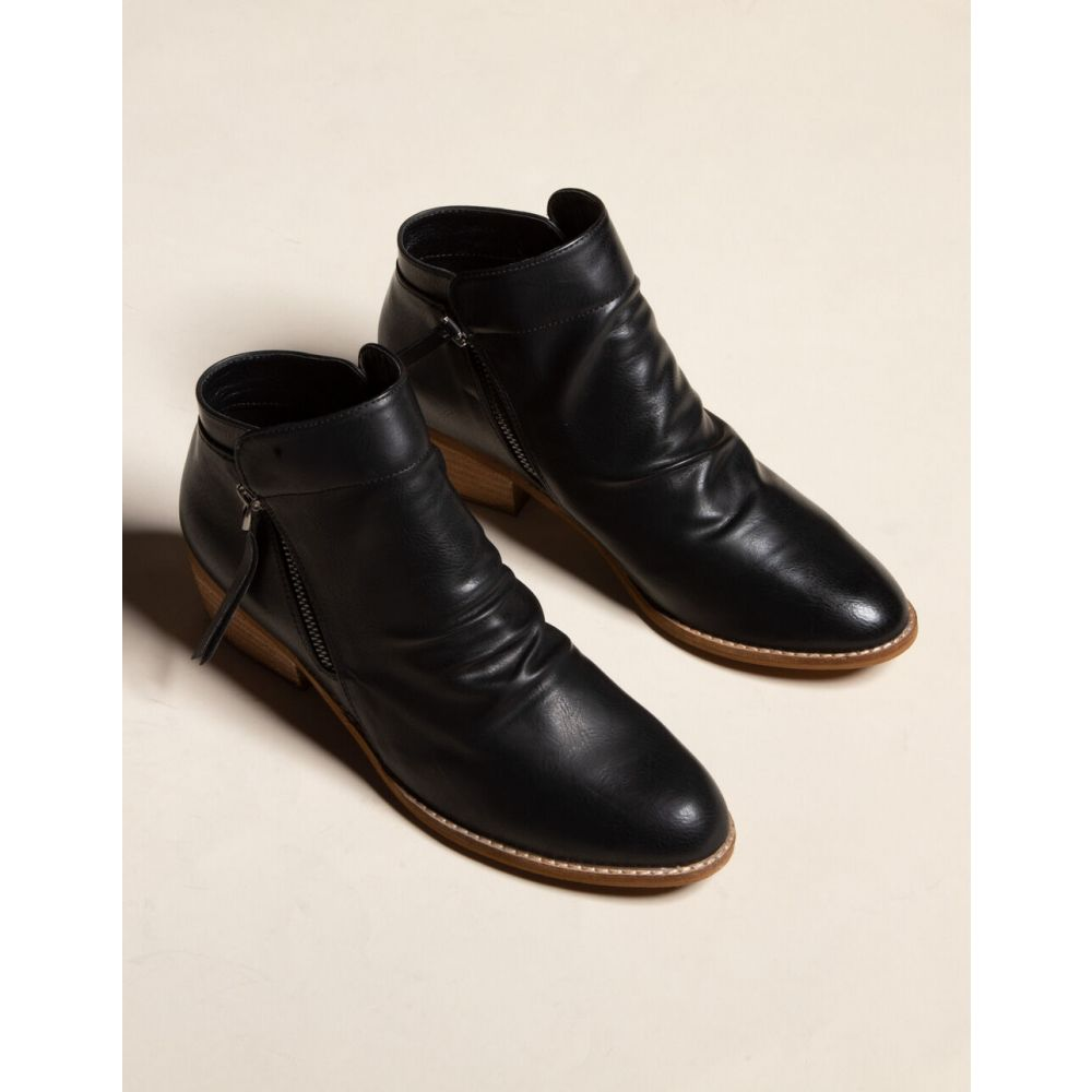 ビーストファッション BEAST FASHION レディース ブーツ ブーティー シューズ・靴【Side Zip Black Booties】BLACK