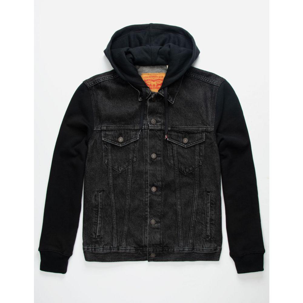 リーバイス LEVI'S メンズ ジャケット フード アウター【Hybrid Hooded Black Trucker Jacket】BLACK
