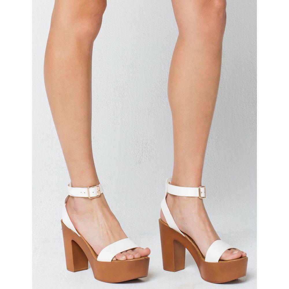 バンブー BAMBOO レディース ヒール アンクルストラップ シューズ・靴【Ankle Strap White Heels】WHITE