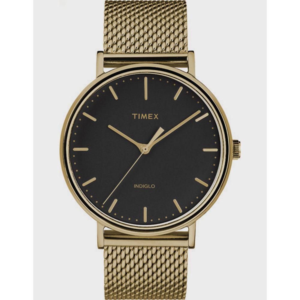 タイメックス TIMEX レディース 腕時計 【Fairfield 41mm Stainless Steel Mesh Band Gold-Tone & Black Watch】GOLD-TONE/BLACK