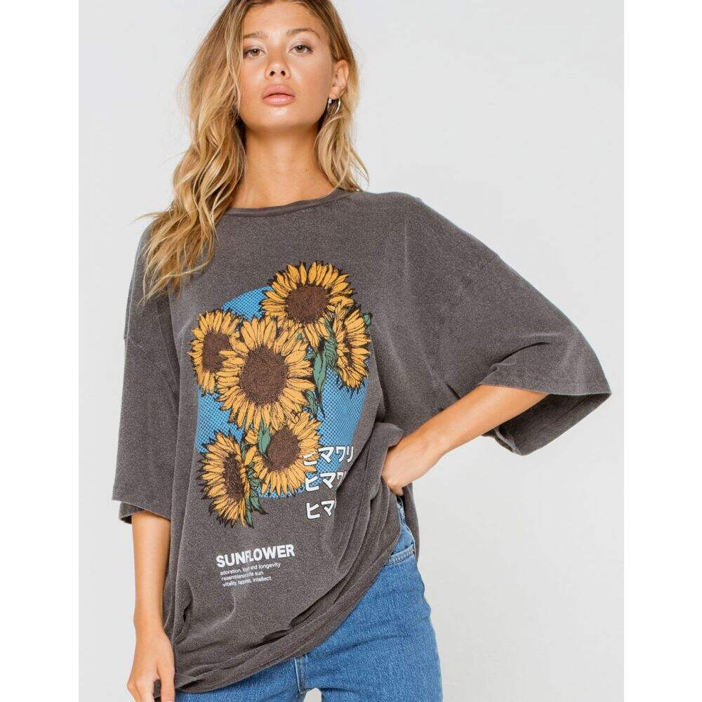 アーバンアウトフィッターズ BDG URBAN OUTFITTERS レディース Tシャツ トップス【BDG Urban Outfitters Sunflower Dad Tee】WASH BLACK