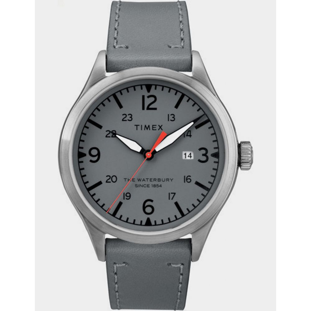 タイメックス TIMEX レディース 腕時計 【Waterbury Traditional 40mm Leather Strap Stainless Steel & Gray Watch】STAINLESS-STEEL/GRAY