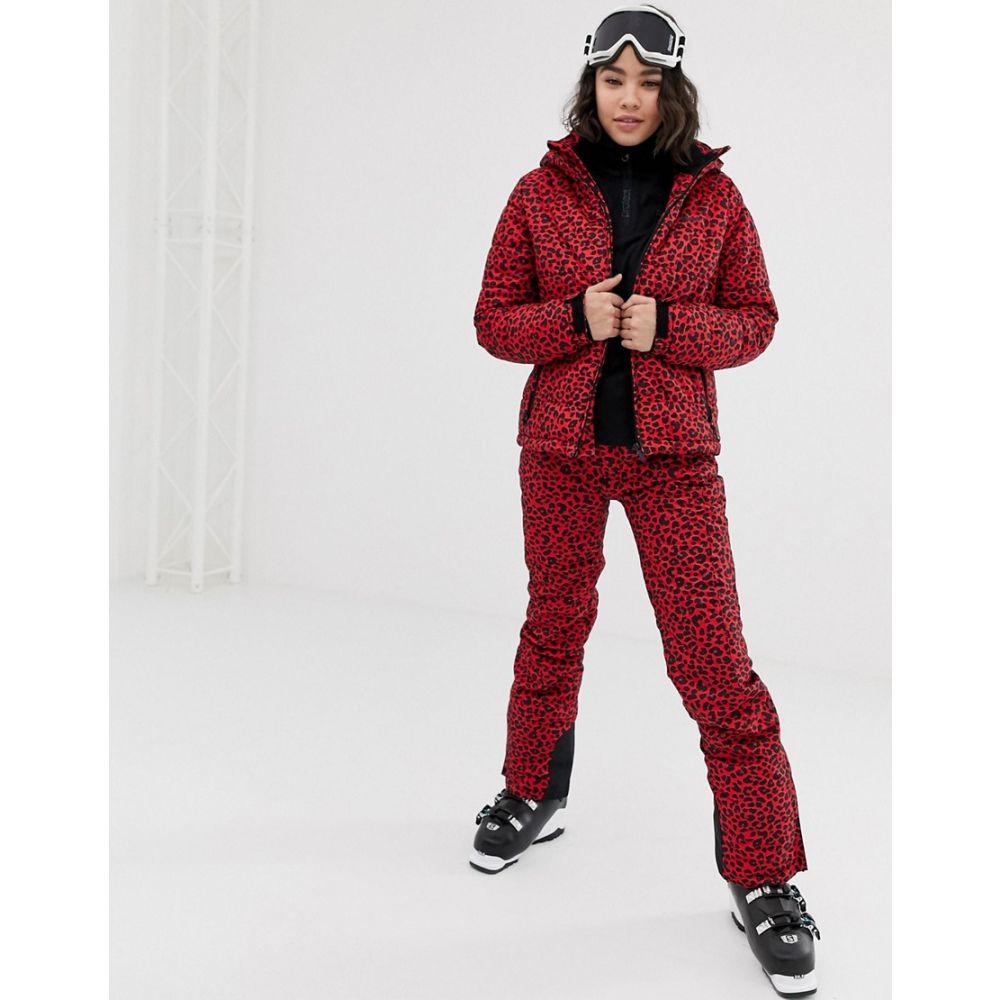 プロテスト Protest レディース スキー・スノーボード ボトムス・パンツ【Soribel ski trouser in red cheetah print】Tulip red
