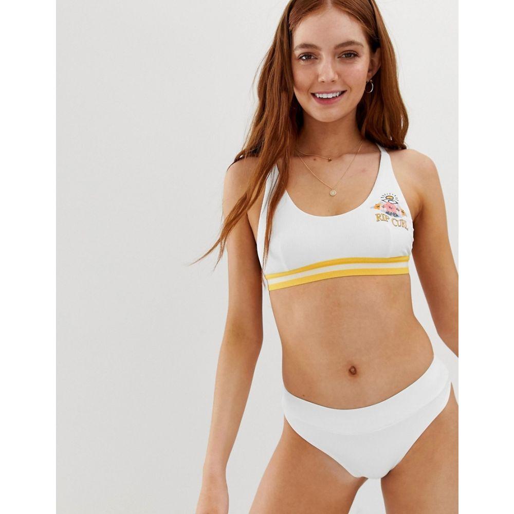 リップカール Ripcurl レディース 水着・ビーチウェア トップのみ【Rip Curl Locals Only logo crop bikini top in white】White