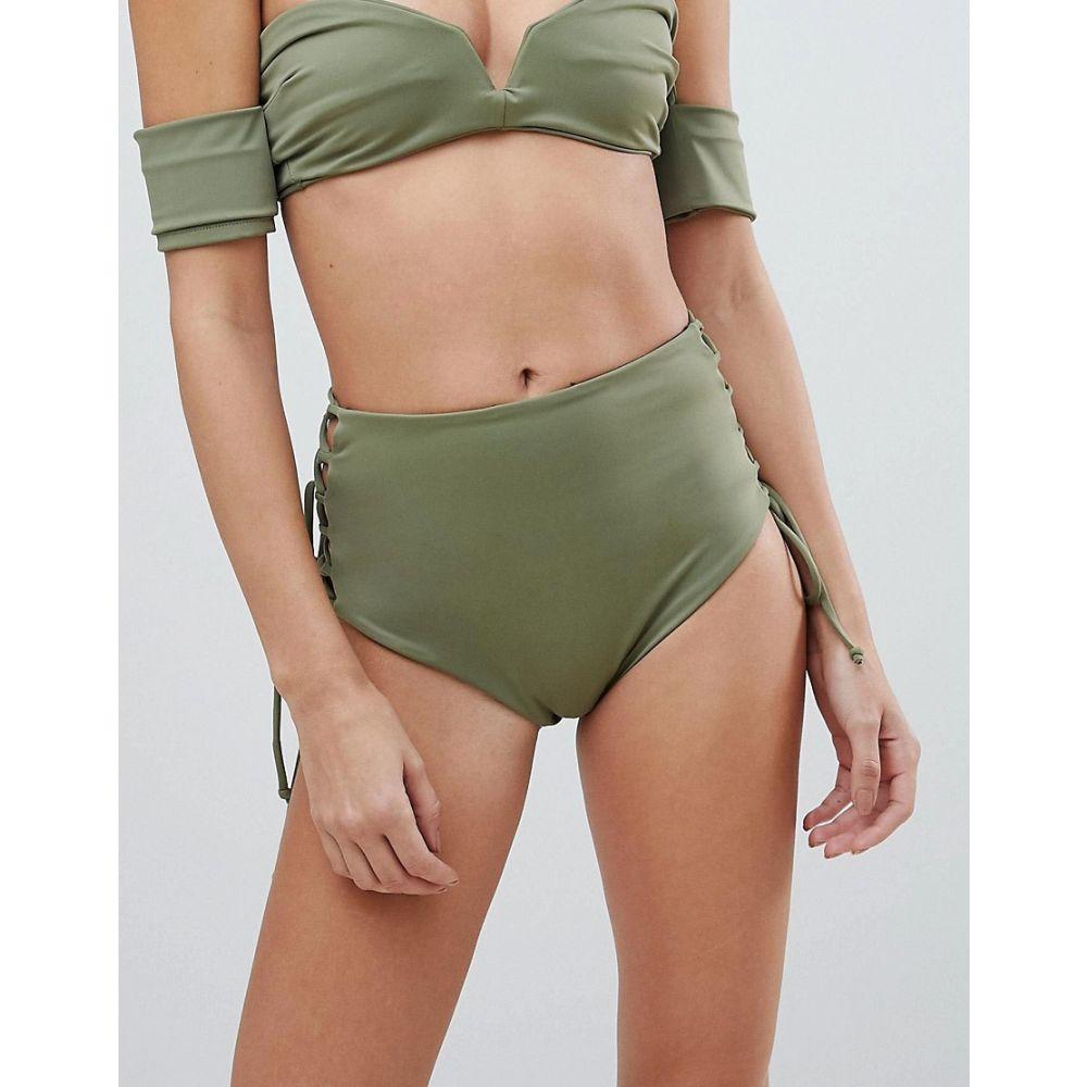 スカイ&スタグホーン Skye and Staghorn レディース 水着・ビーチウェア ボトムのみ【Skye & Staghorn High Waisted Stripe Lace Up Bikini Bottom】Moss