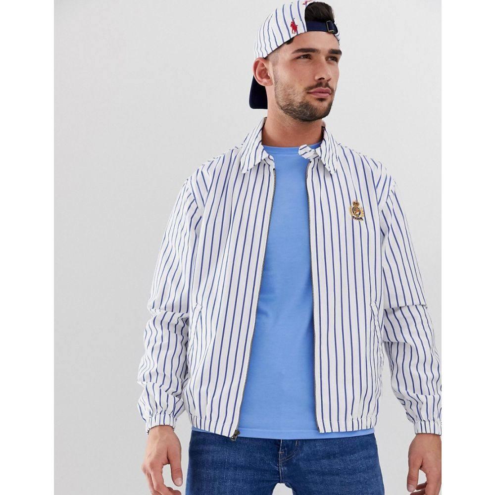 ラルフ ローレン Polo Ralph Lauren メンズ アウター ジャケット【Bayport crest badge stripe oxford lightweight harrington jacket in white/blue】Navy oxford stripe