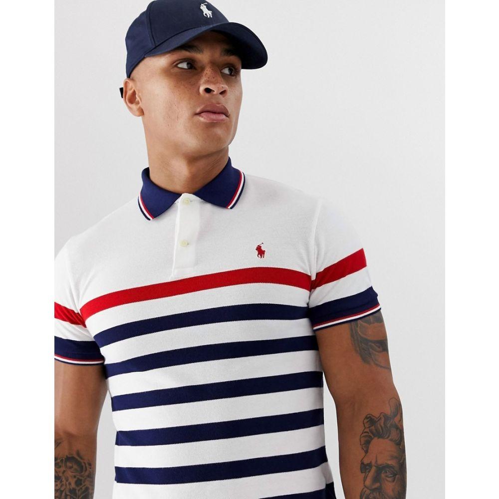 ラルフ ローレン Polo Ralph Lauren メンズ トップス ポロシャツ【player logo multi stripe pique polo custom regular fit in white】White multi