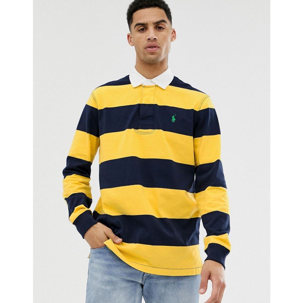 ラルフ ローレン Polo Ralph Lauren メンズ トップス ポロシャツ【stripe player logo rugby polo in yellow/navy】Chrome yellow/navy