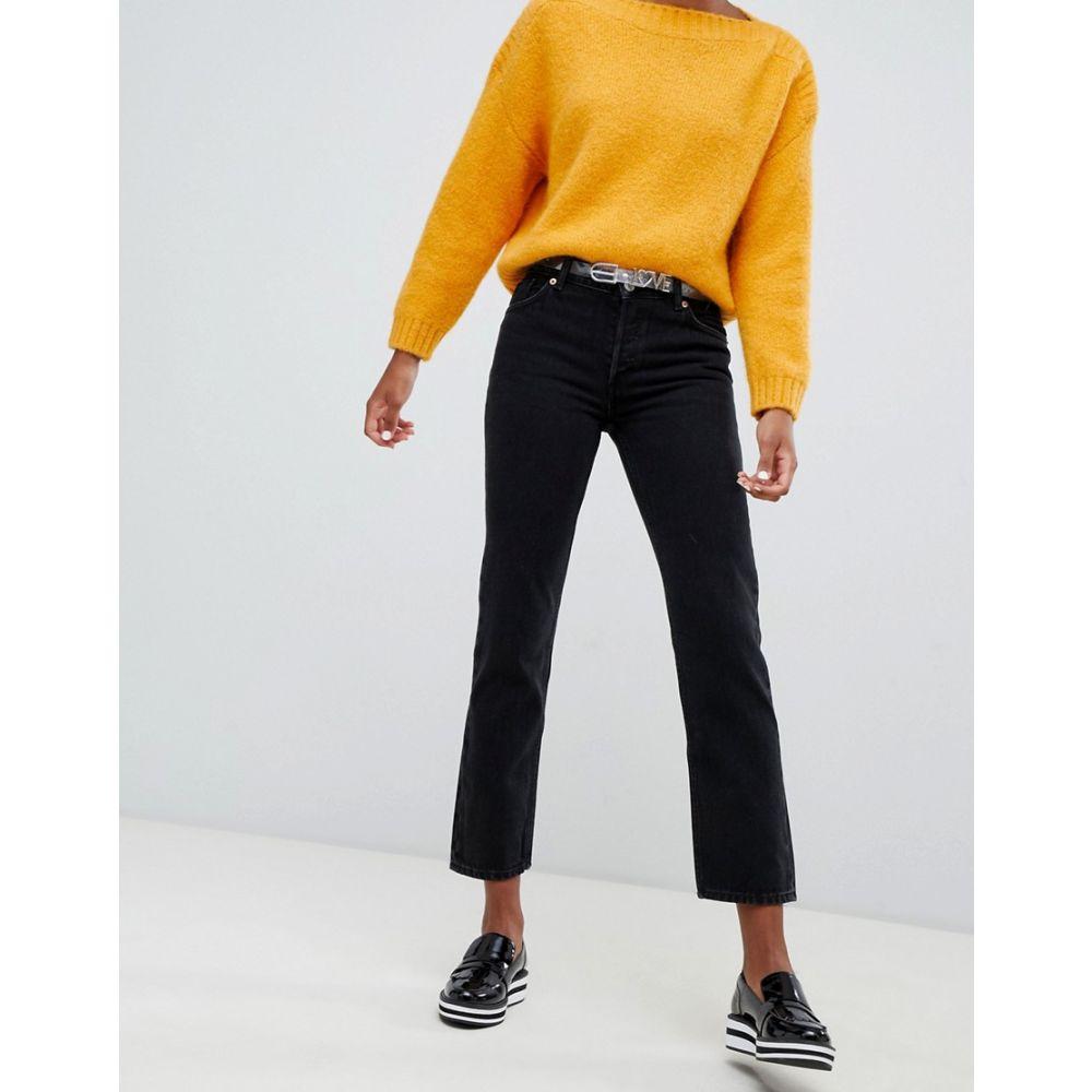 モンキー Monki レディース ボトムス・パンツ ジーンズ・デニム【Mokonok mid waist straight leg jeans with organic cotton in black】Black