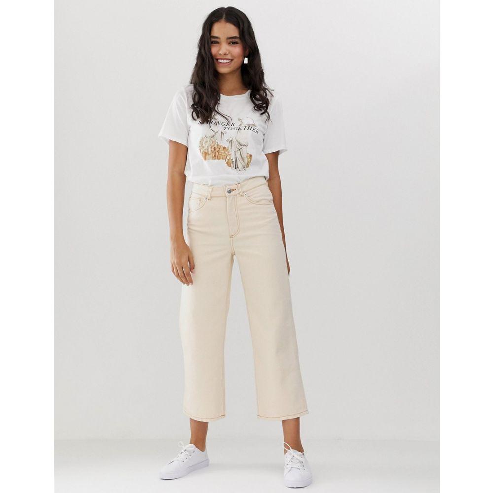 モンキー Monki レディース ボトムス・パンツ ジーンズ・デニム【organic cotton straight leg cropped jeans in off white】Off white