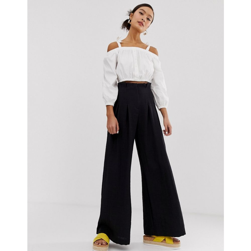 モンキー Monki レディース ボトムス・パンツ【pleated wide leg trousers in black】Black