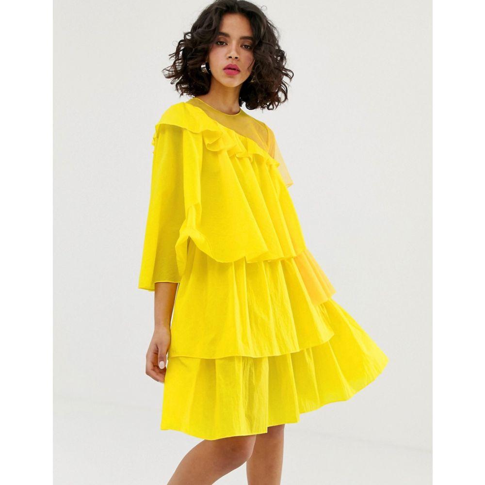 ハウス オブ ホーランド House of Holland レディース ワンピース・ドレス ワンピース【rip stop extreme frill dress】Yellow