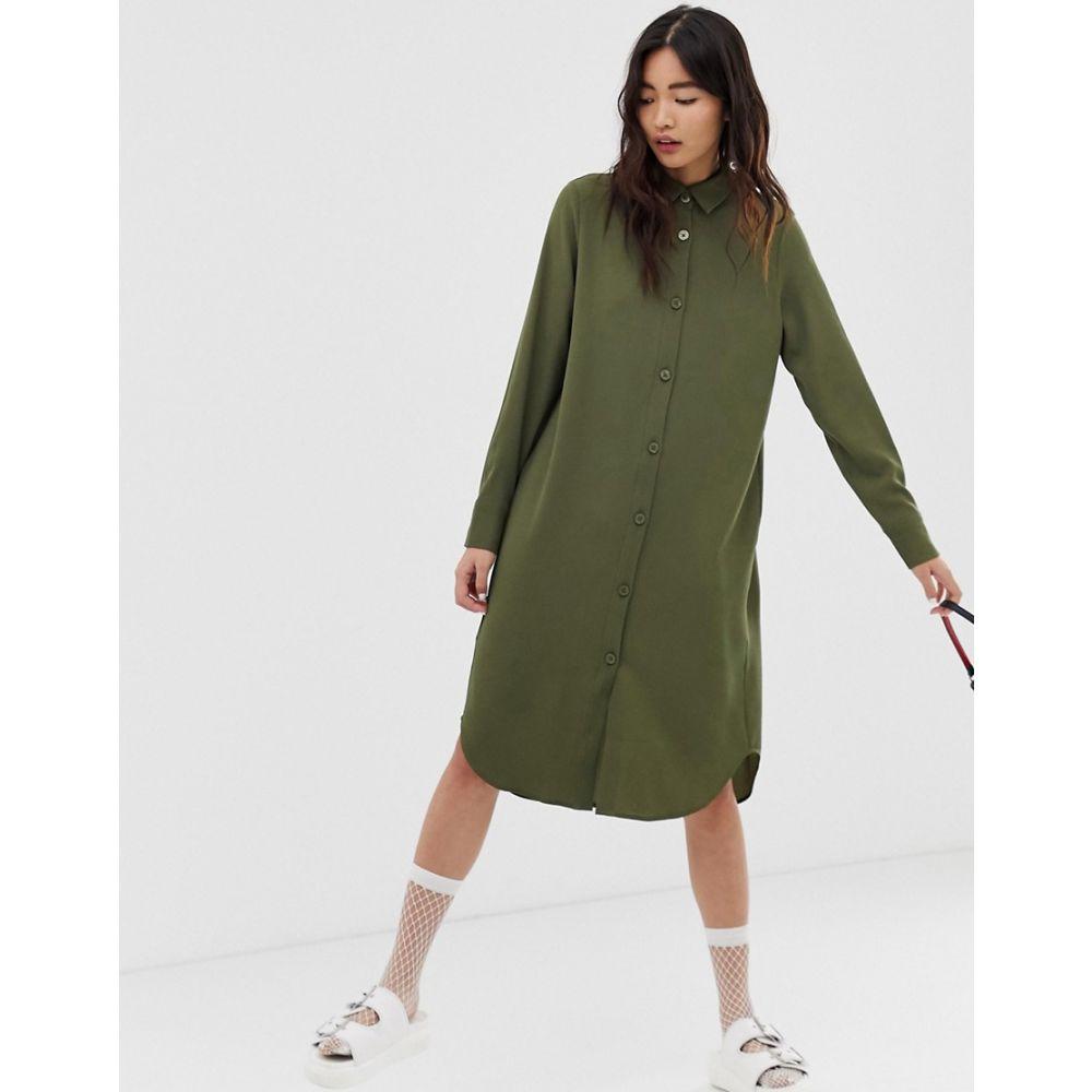 モンキー Monki レディース ワンピース・ドレス ワンピース【midi shirt dress in khaki】Green
