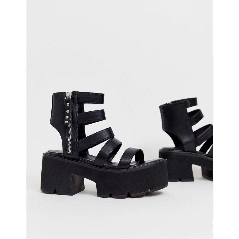 ラ モーダ Lamoda レディース シューズ・靴 サンダル・ミュール【black chunky cleated sandals】Black pu