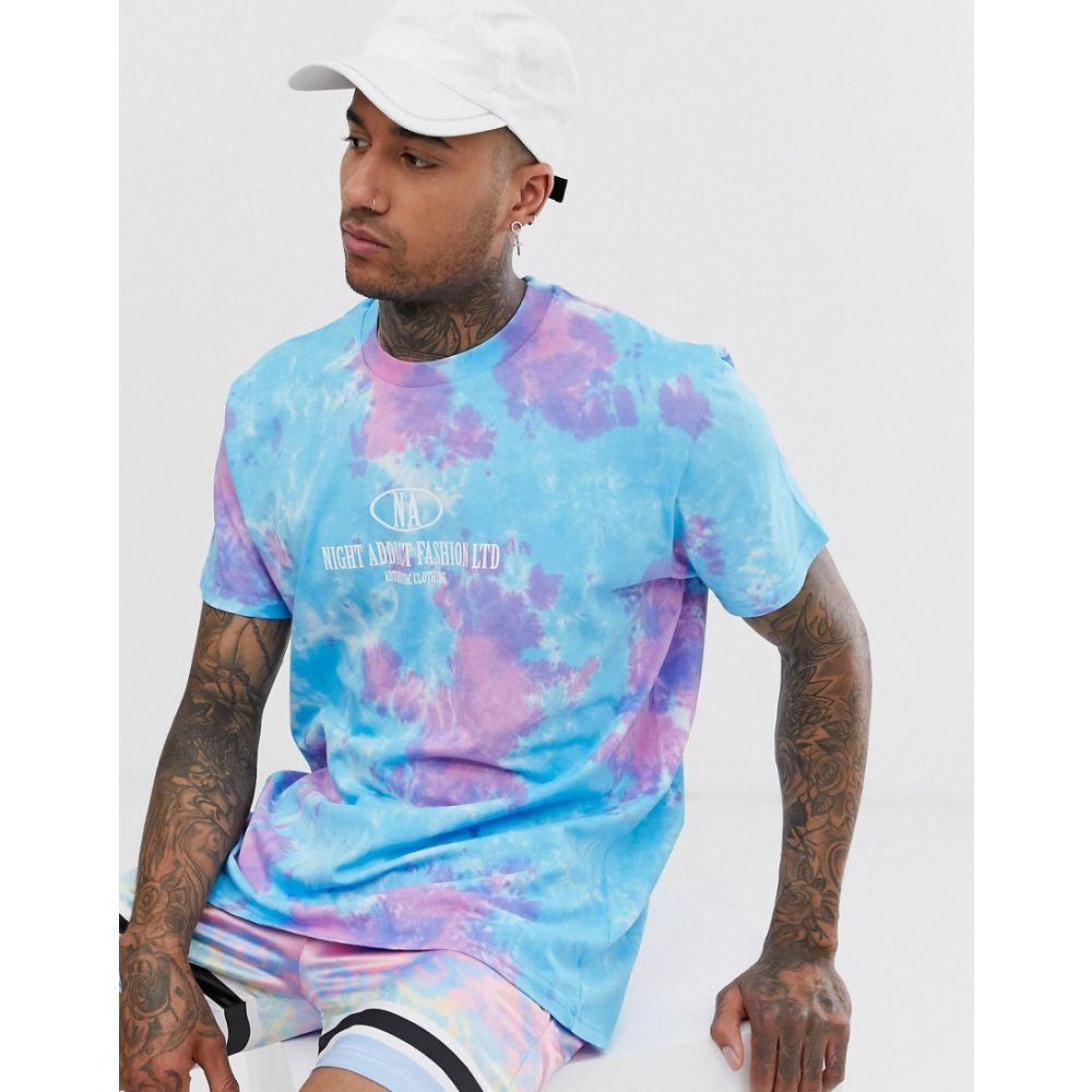 ナイト アディクト Night Addict メンズ トップス Tシャツ【oversized tie dye t-shirt】Blue