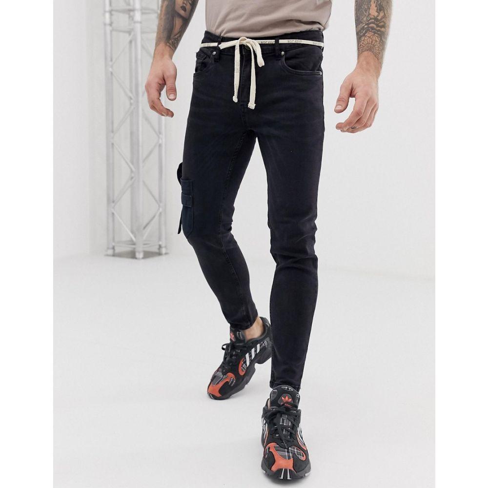 ナイト アディクト Night Addict メンズ ボトムス・パンツ ジーンズ・デニム【skinny fit jeans with pockets and waist rope】Washed black