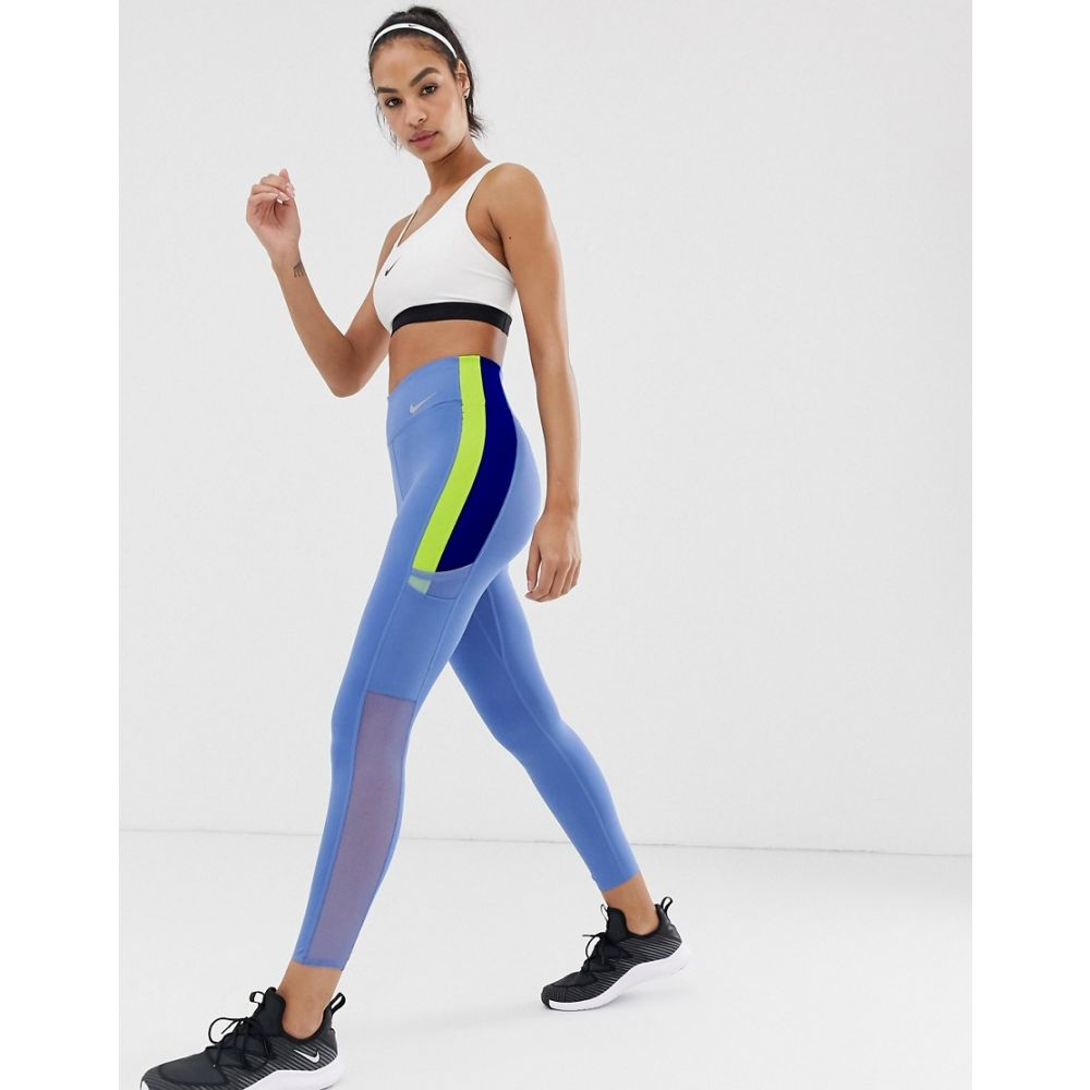ナイキ Nike Training レディース インナー・下着 スパッツ・レギンス【Colourblock Leggings In Blue And Lime】Indigo storm/cyber/i