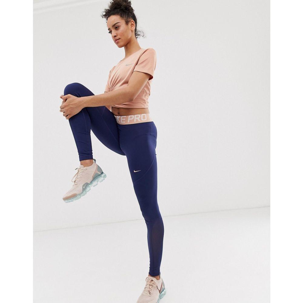 ナイキ Nike Training レディース インナー・下着 スパッツ・レギンス【Nike Pro Training Leggings In Navy With Rose Gold waistband】Midnight navy/red br
