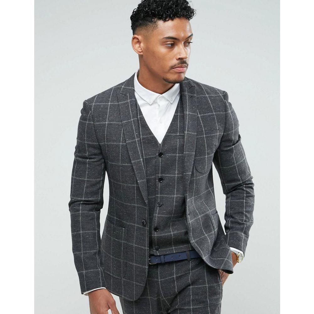 エイソス メンズ アウター ジャケット【ASOS Super Skinny Suit Jacket In Charcoal Windowpane Check】Grey