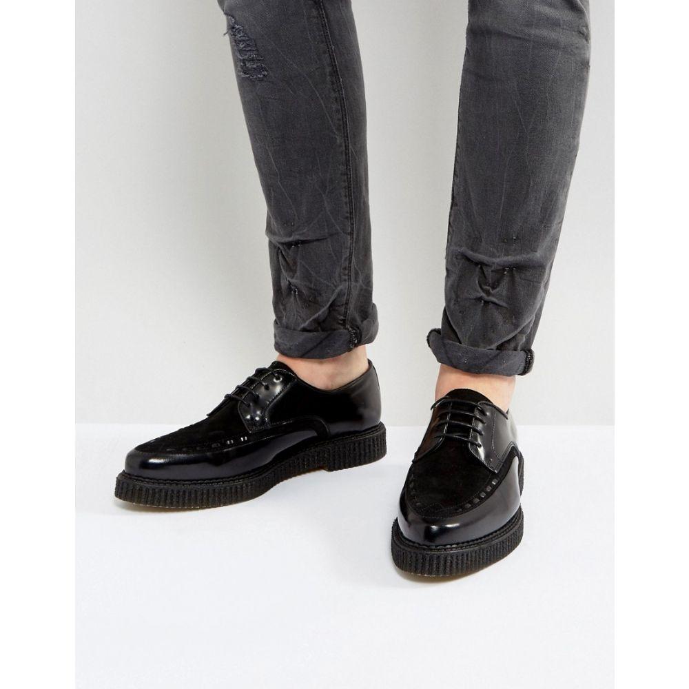 エイソス メンズ シューズ・靴 カジュアルシューズ【ASOS Lace Up Shoes In Black Leather With Creeper Sole】Black