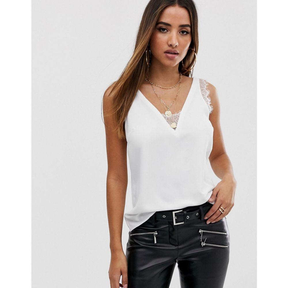 エイソス レディース トップス タンクトップ【ASOS Deep Plunge Lace Insert Camisole Vest】Ivory