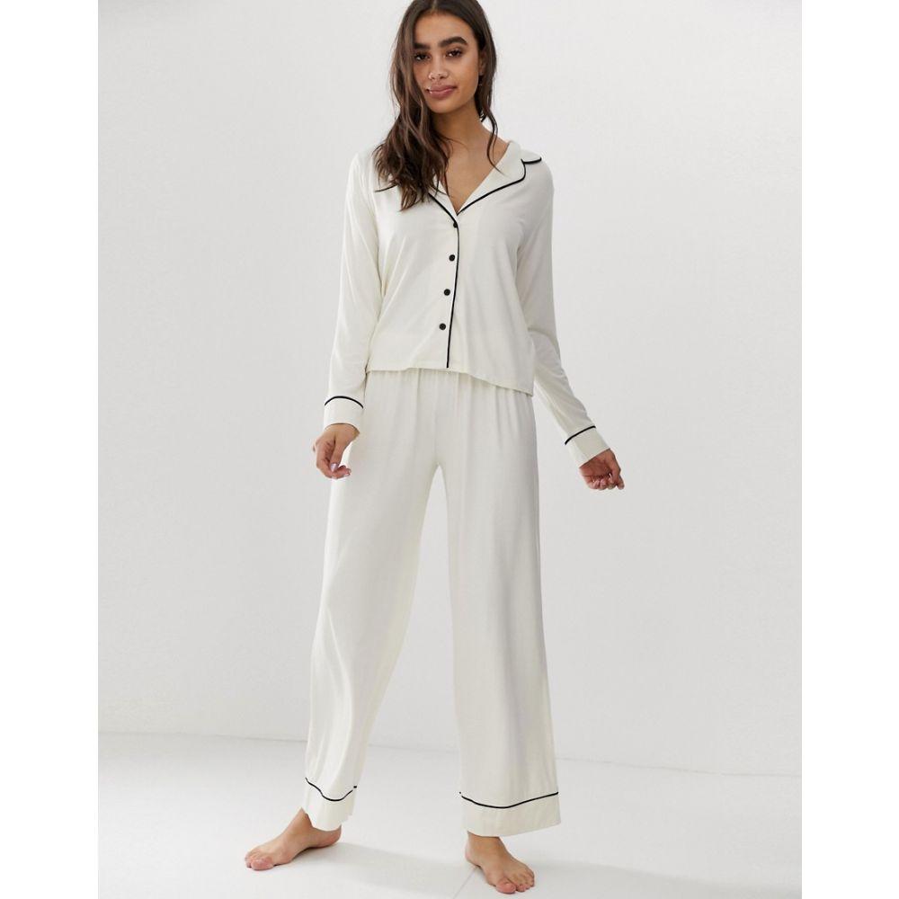 エイソス ASOS DESIGN レディース インナー・下着 パジャマ・上下セット【traditional pyjama trouser set with piping】White