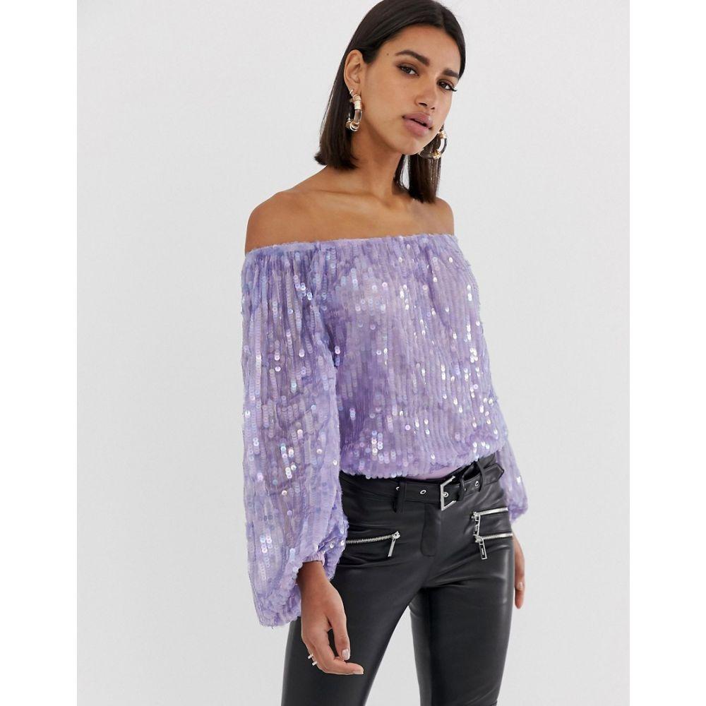 エイソス ASOS DESIGN レディース インナー・下着 ボディースーツ【sequin bardot body with blouson sleeve】Lilac purple