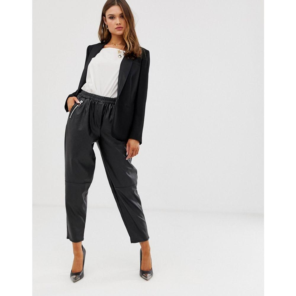 エイソス ASOS DESIGN レディース ボトムス・パンツ【tapered leather look trousers】Black