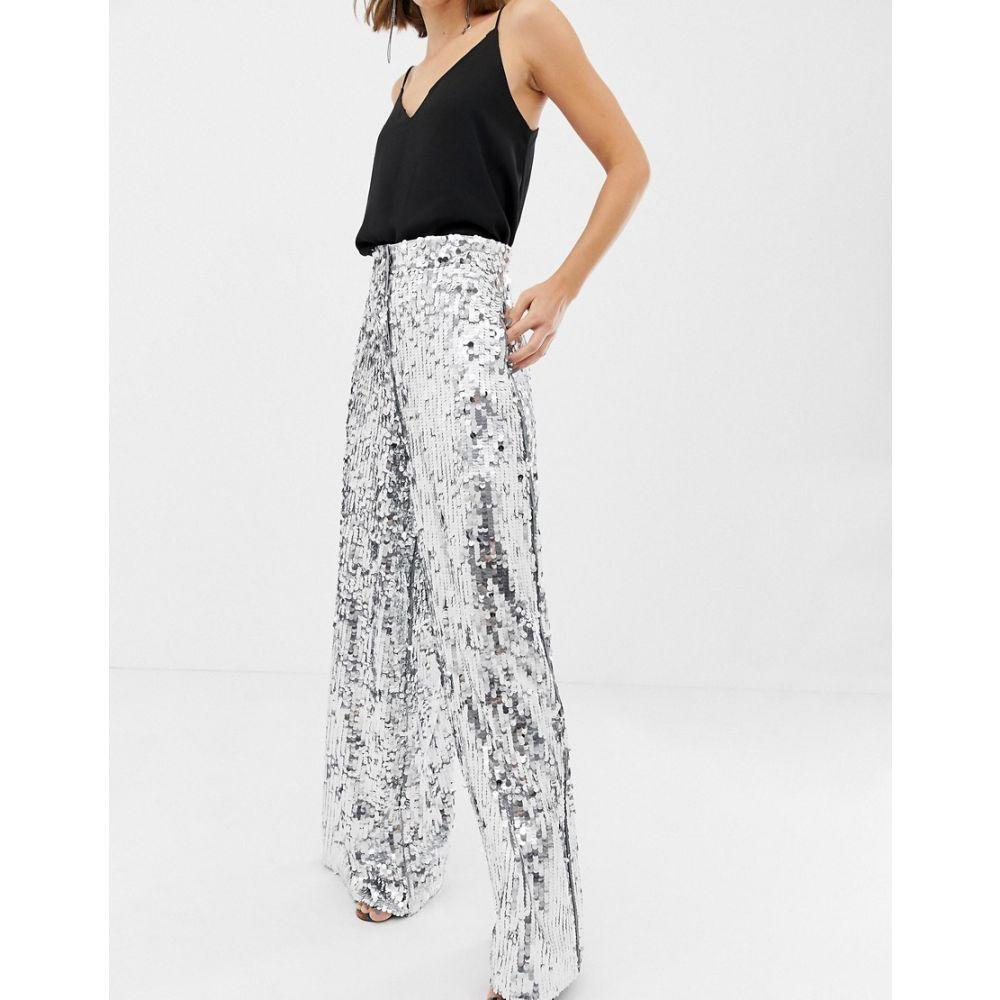 エイソス ASOS EDITION レディース ボトムス・パンツ【sequin wide leg flare trouser】Silver