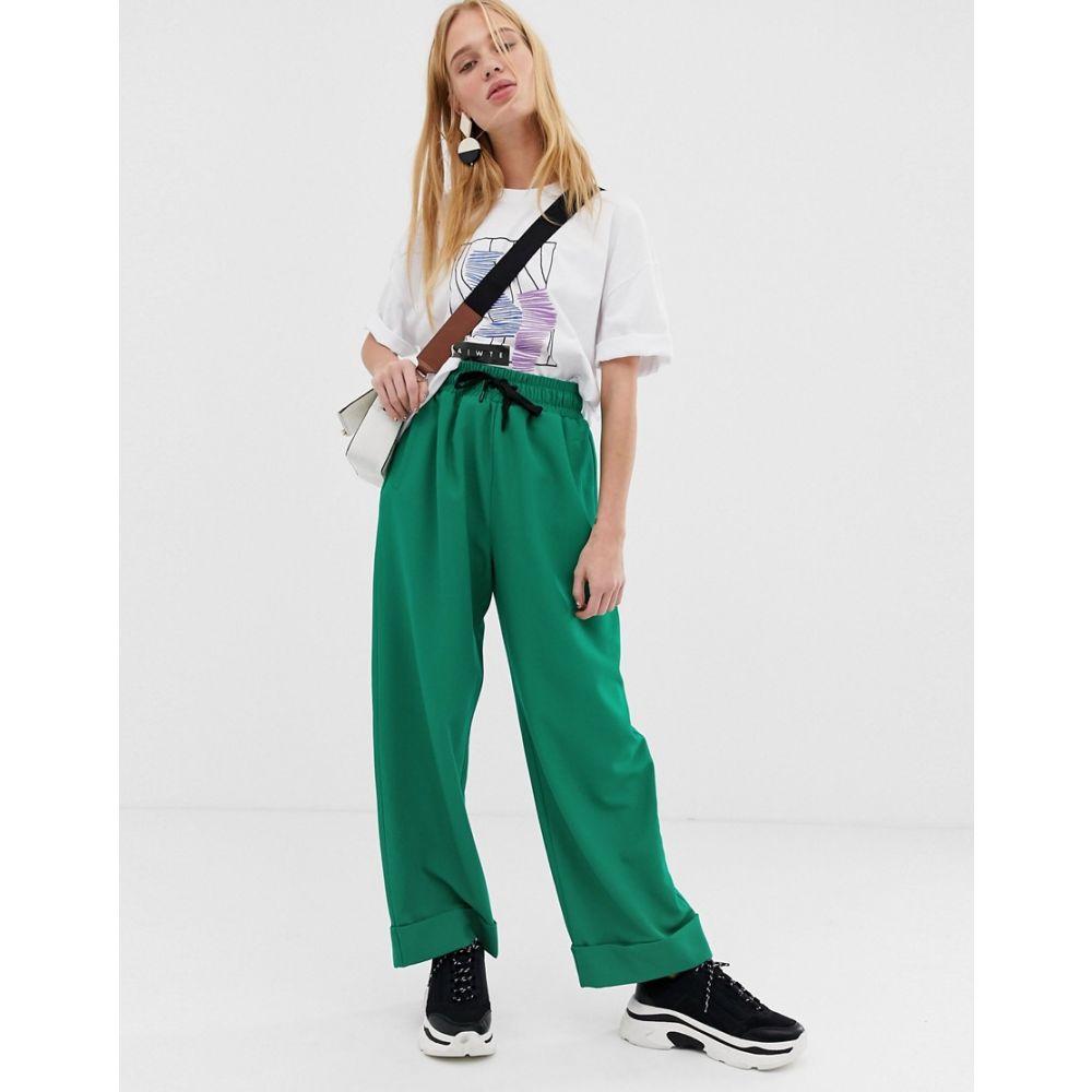エイソス ASOS WHITE レディース ボトムス・パンツ【casual crepe trousers】Green