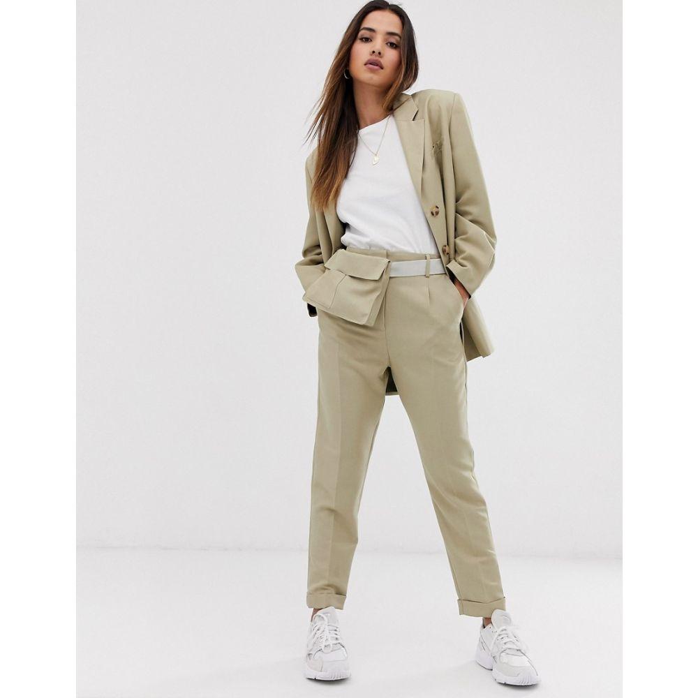 エイソス ASOS DESIGN レディース ボトムス・パンツ【tapered suit trousers with bum bag】Sand