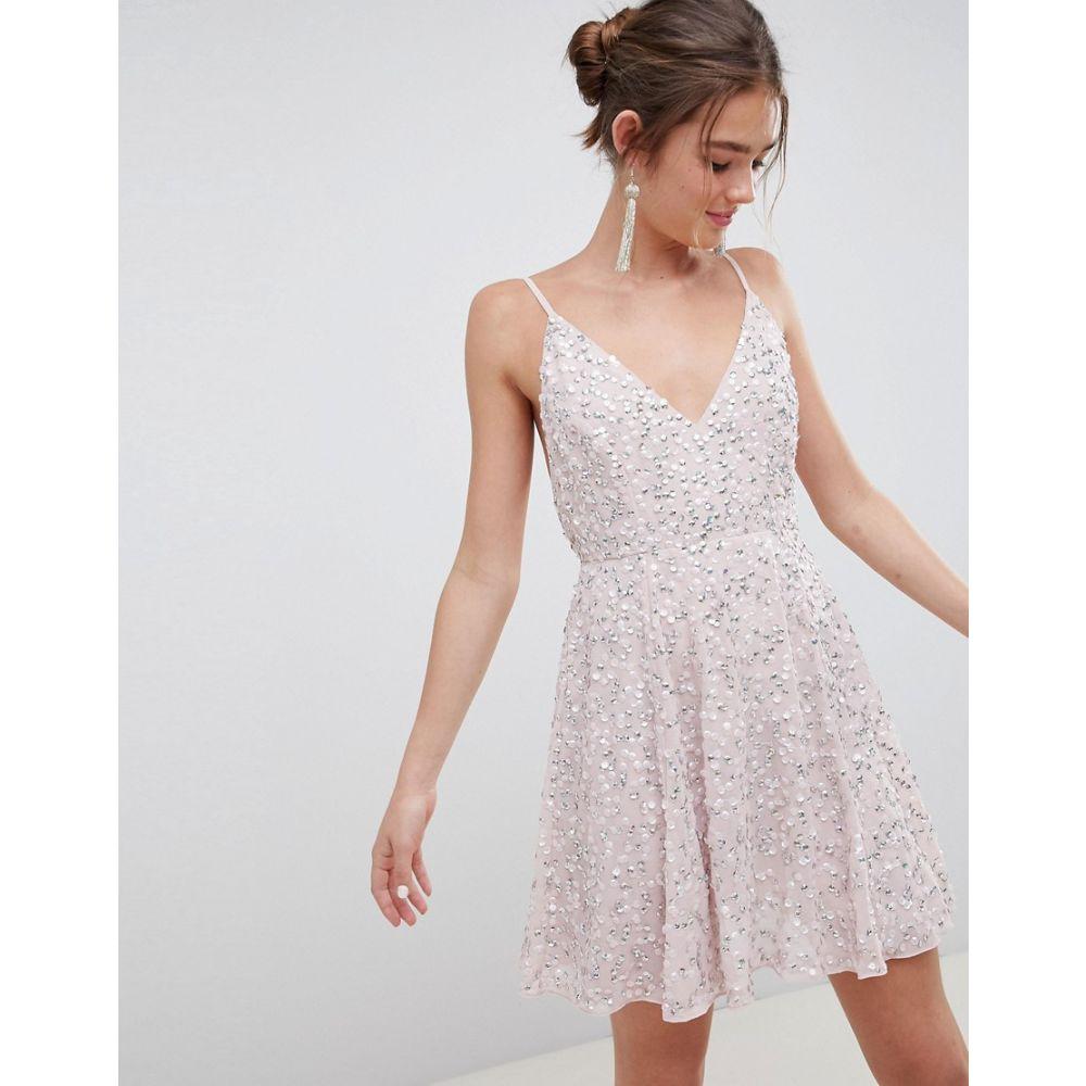 エイソス レディース ワンピース・ドレス ワンピース【ASOS DESIGN delicate sequin plunge mini dress with full skirt】Dusty pink