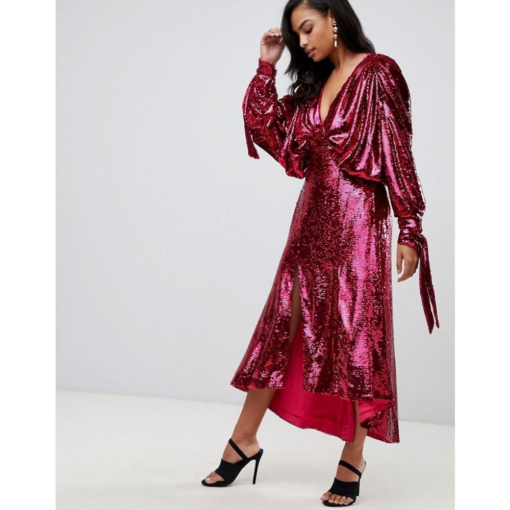エイソス ASOS EDITION レディース ワンピース・ドレス ワンピース【sequin batwing midi dress with bow detail】Pink