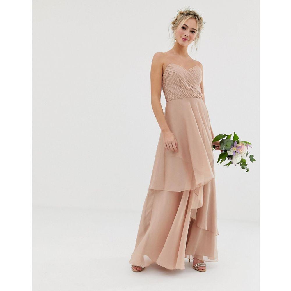 エイソス ASOS DESIGN レディース ワンピース・ドレス ワンピース【Bridesmaid maxi bandeau dress with soft layered skirt】Soft blush