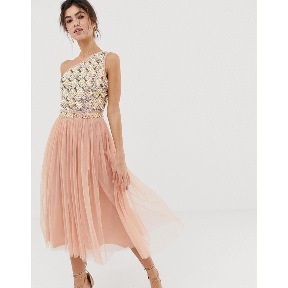 エイソス ASOS DESIGN レディース ワンピース・ドレス ワンピース【Embellished Tulle Midi Dress】Blush