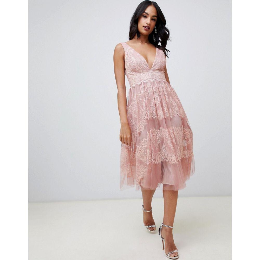 エイソス ASOS DESIGN レディース ワンピース・ドレス ワンピース【midi dress in mesh with delicate lace panels】Soft pink