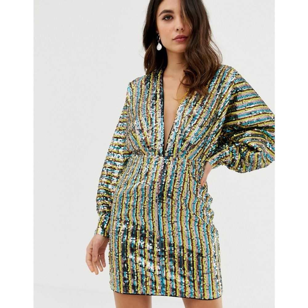 エイソス ASOS DESIGN レディース ワンピース・ドレス ワンピース【stripe embellished sequin batwing kimono mini dress】Sequin stripe