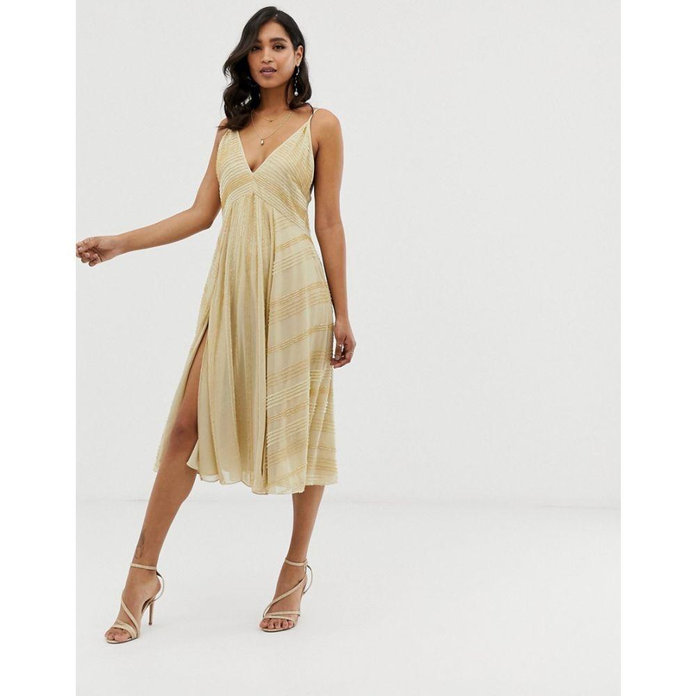 エイソス ASOS DESIGN レディース ワンピース・ドレス ワンピース【midi swing cami dress in linear beading】Champagne