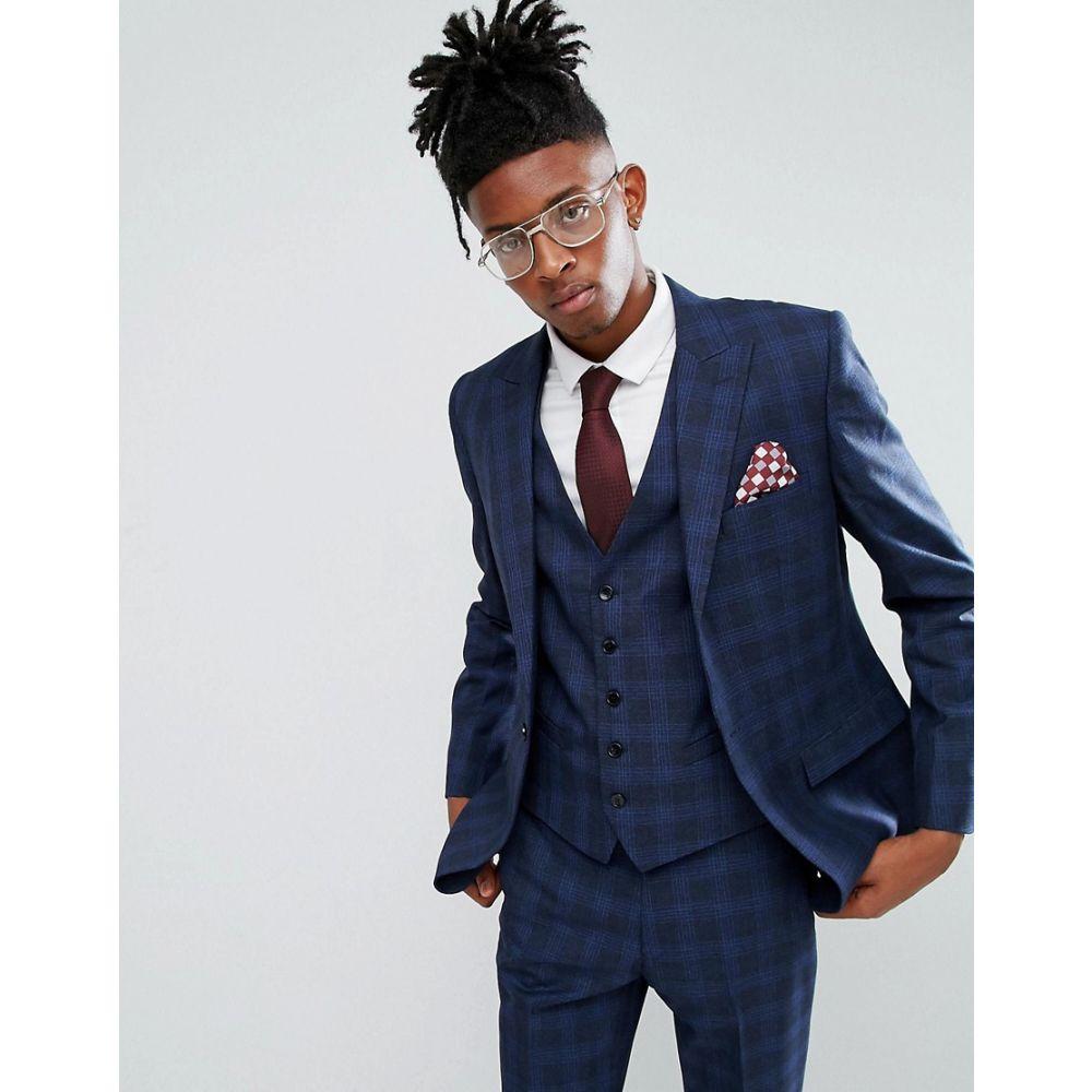 ルーディー メンズ アウター スーツ・ジャケット【Rudie Blue Prince Of Wales Check Skinny Fit Suit Jacket】Blue