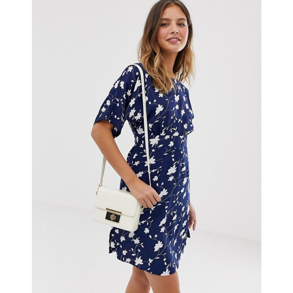 ユミ Yumi レディース ワンピース・ドレス ワンピース【shift dress with waist panel detail in daisy print】Navy