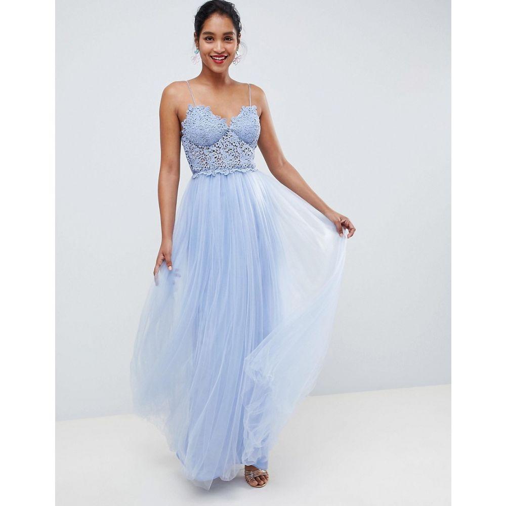 エイソス ASOS DESIGN レディース ワンピース・ドレス ワンピース【premium lace cami top tulle maxi dress】Blue