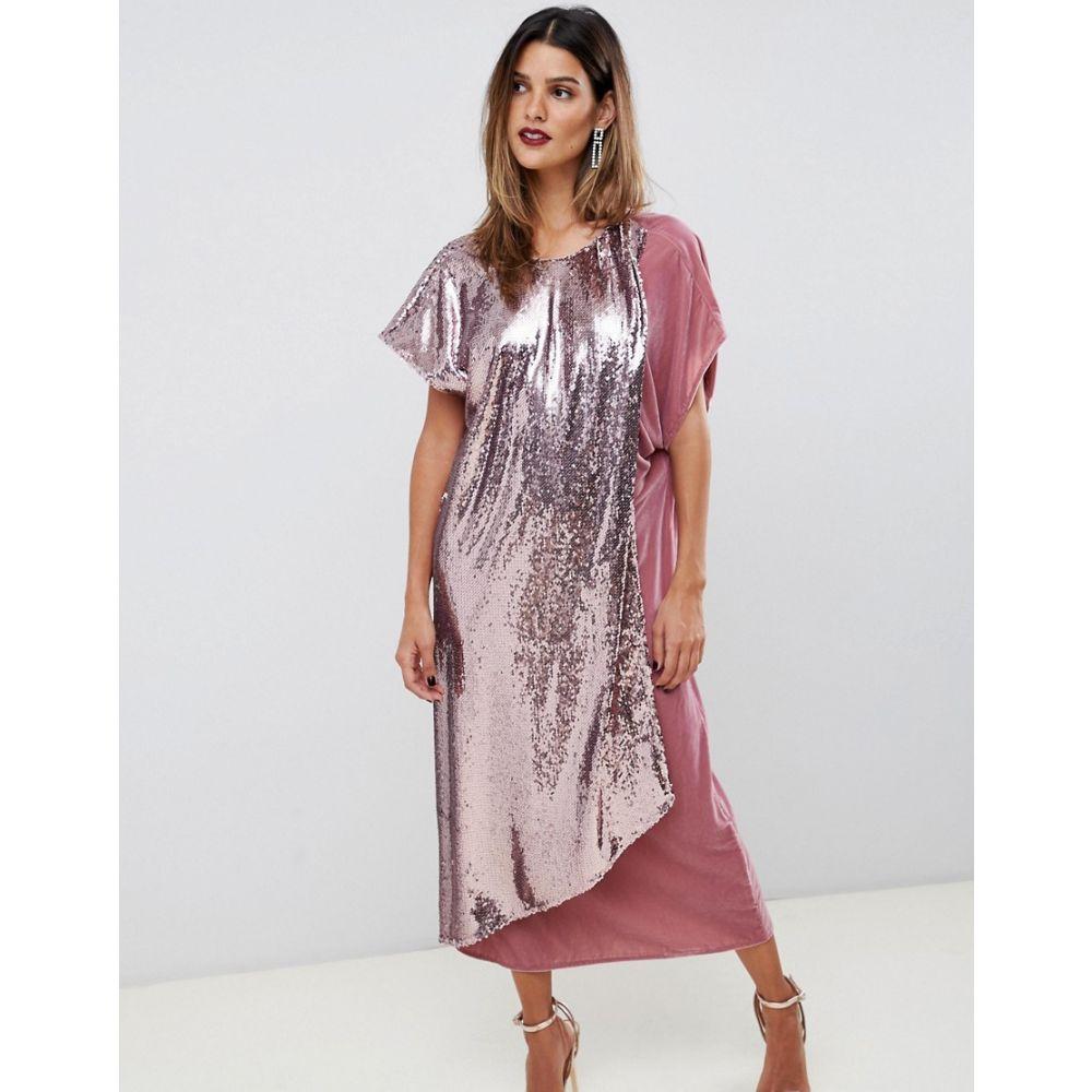 エイソス ASOS DESIGN レディース ワンピース・ドレス ワンピース【velvet and sequin mix asymmetric drape midi dress】Dusty pink