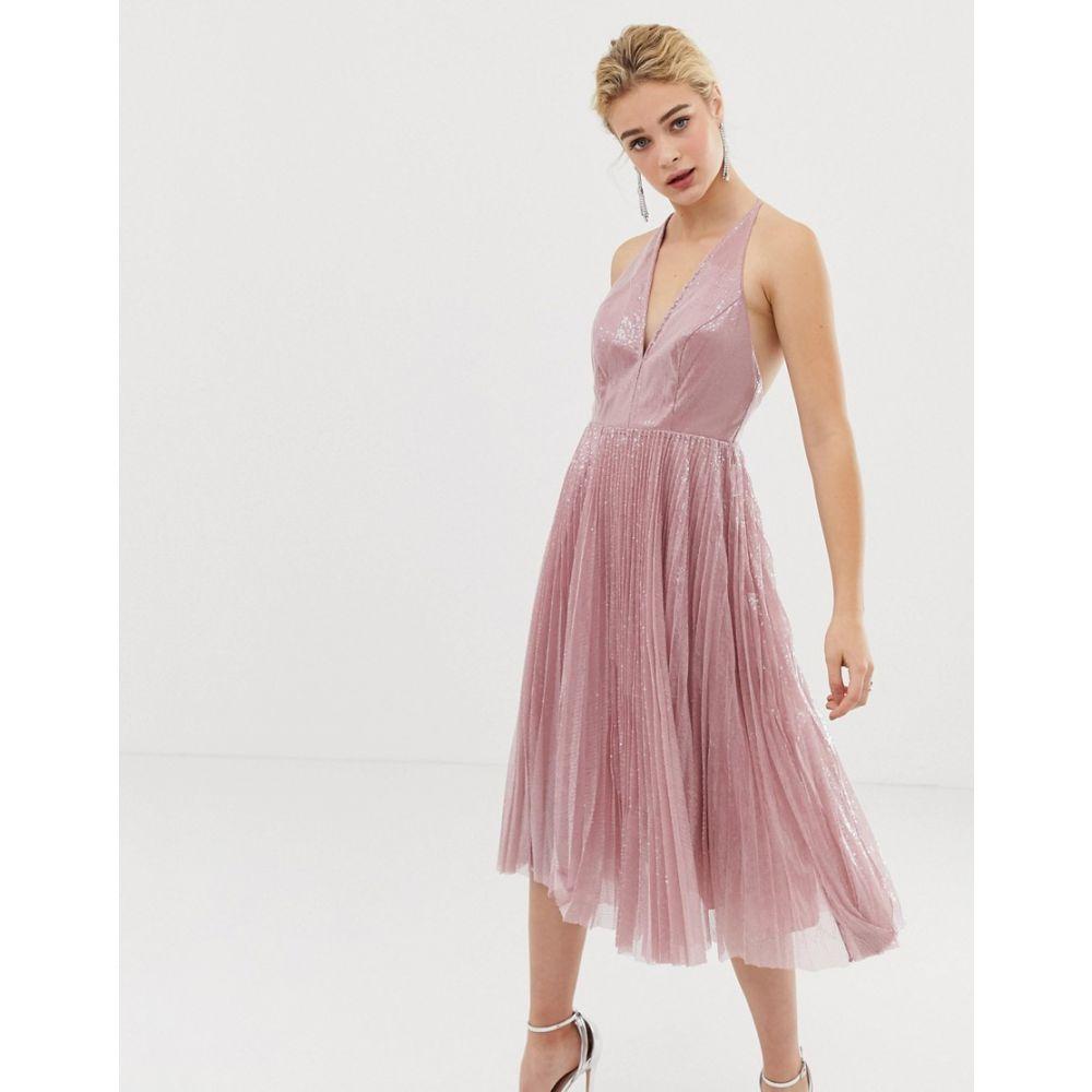 エイソス ASOS DESIGN レディース ワンピース・ドレス ワンピース【midi dress in pleated sequin】Soft pink