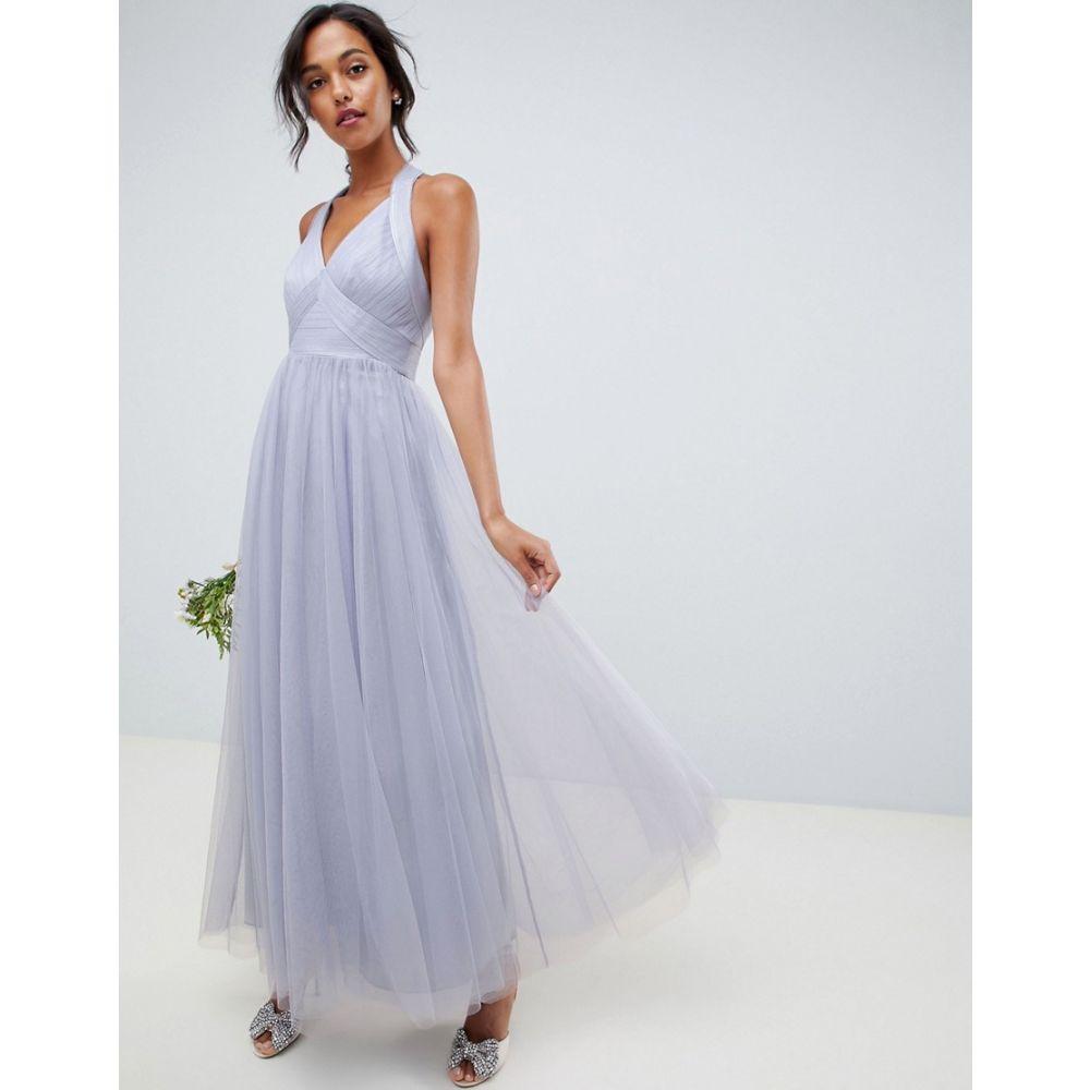 エイソス ASOS DESIGN レディース ワンピース・ドレス ワンピース【soft tulle maxi dress】Dusty blue