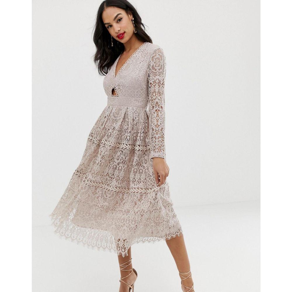 エイソス ASOS DESIGN レディース ワンピース・ドレス ワンピース【lace long sleeve prom midi dress with cut out】Soft blush