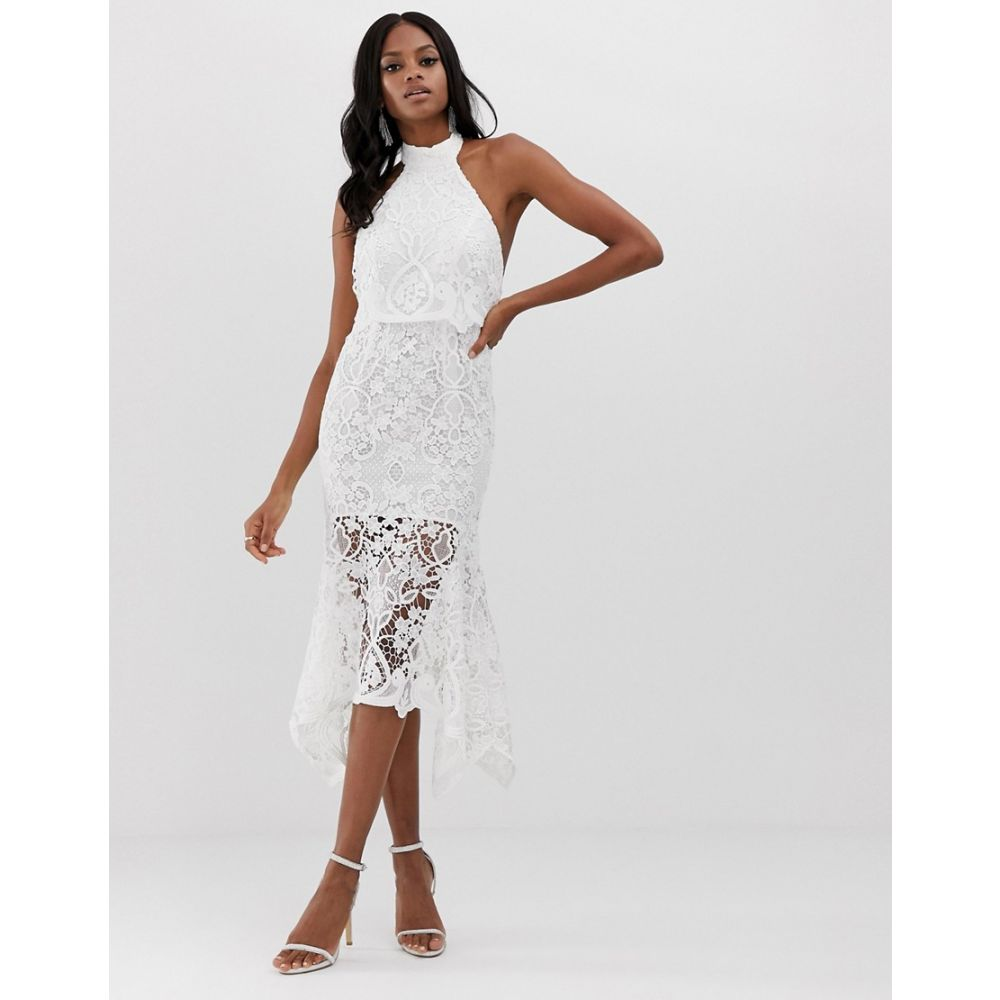 エイソス ASOS DESIGN レディース ワンピース・ドレス ワンピース【high neck midi dress in guipure lace and peplum】White