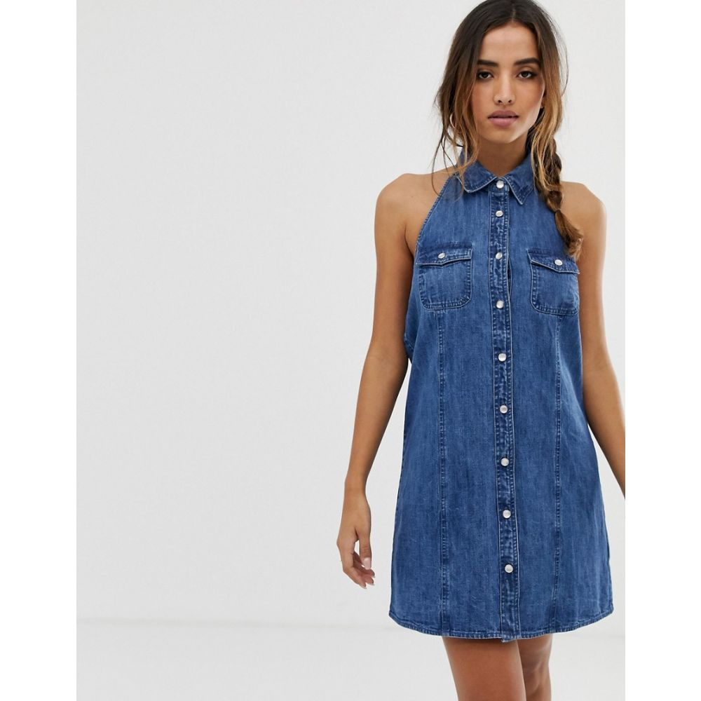 エイソス ASOS DESIGN レディース ワンピース・ドレス ワンピース【denim sleeveless shirt dress in midwash blue】Midwash blue